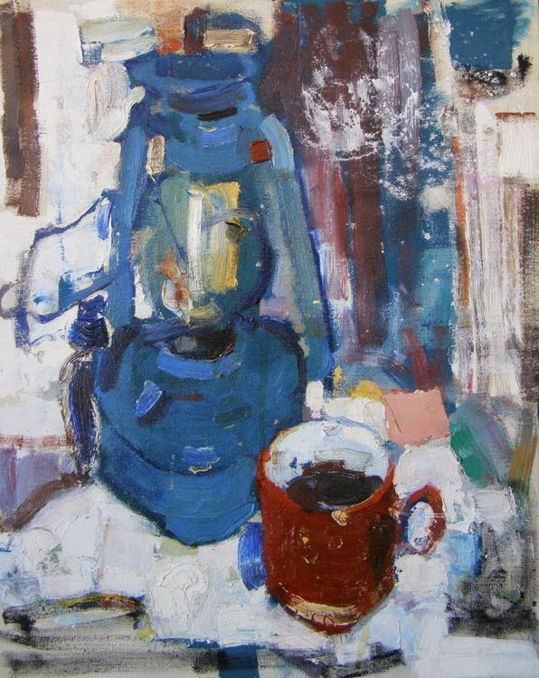 Still Life With Blue Kerosene Lamp. - Image 0