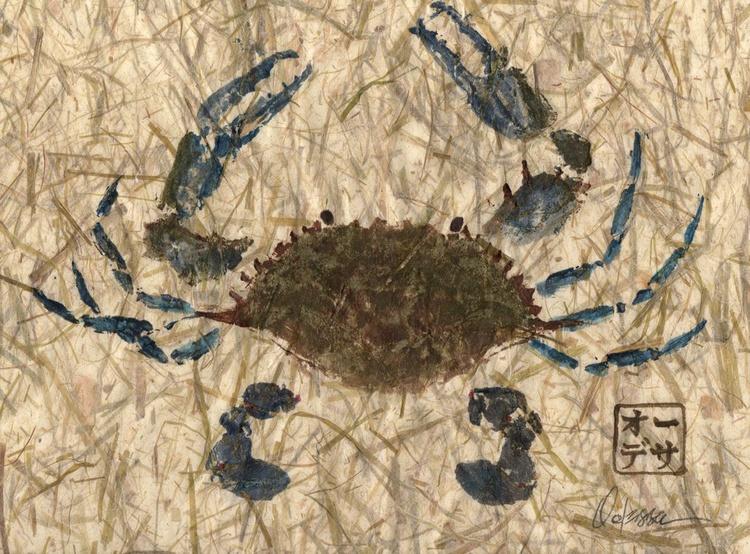 Blue Crab Gyotaku (Fish Rubbing) on Lemon Grass Paper - CRAB ONLY - Image 0