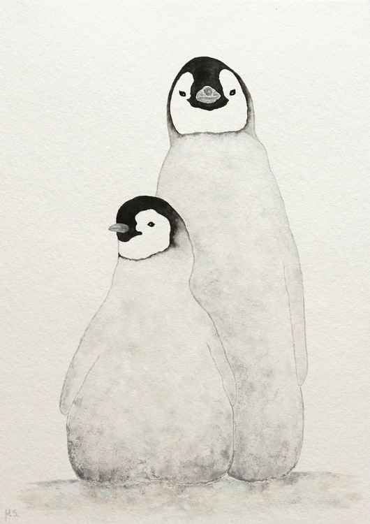 Two emperor penguin chicks - siblings -