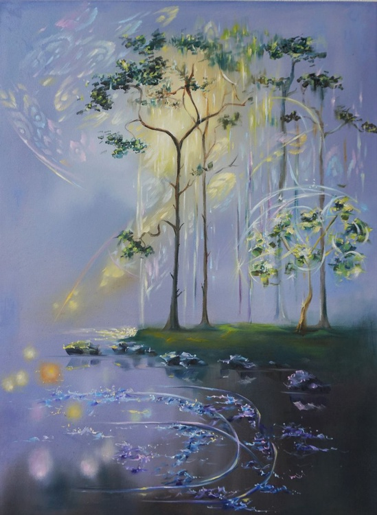 """Landscape painting """"Bejewelled pines"""" - Image 0"""