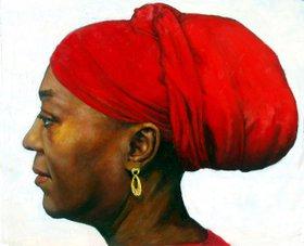 A Red Turban by QI Debrah