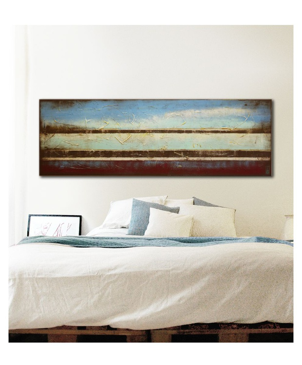 Abstract Painting - Landscape Turquoise Lines - B47 - Image 0