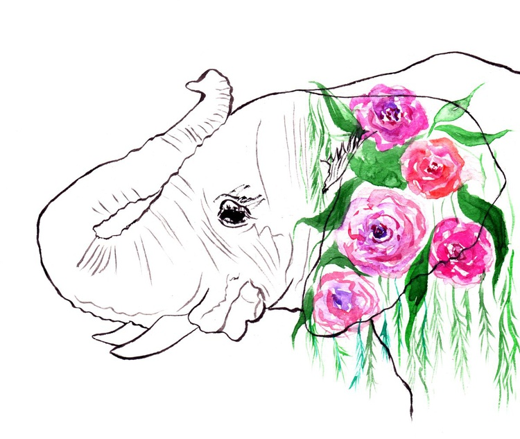Elephant with flowers - Image 0