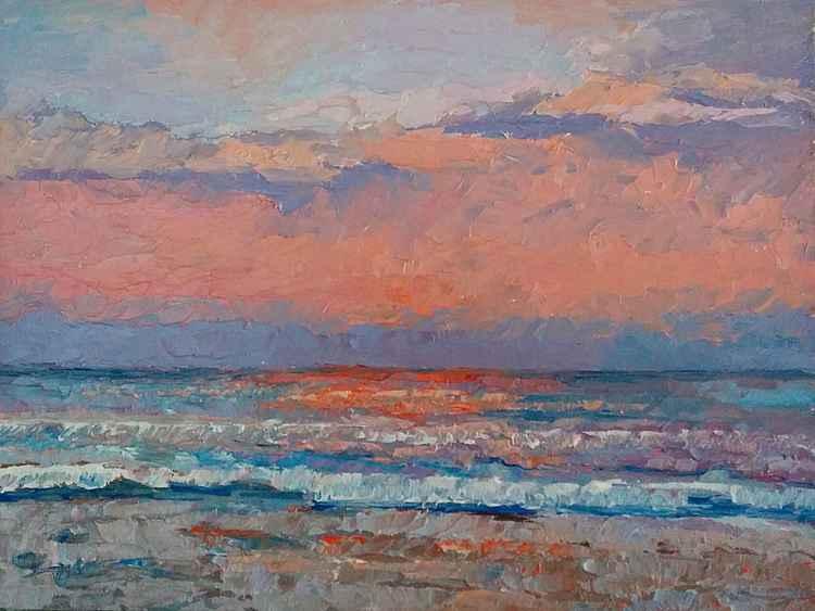 "Seascape  sunrise,  ""Morning hues"" -"