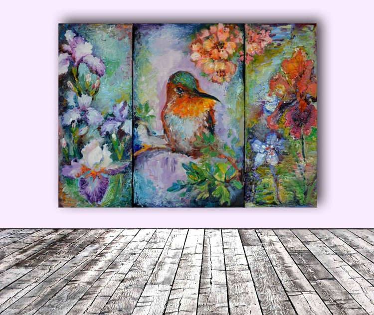Humming Around - Hummingbird with Iris and Chery Tree Flowers Painting, Ready To Hang Modern Oil Painting - Image 0