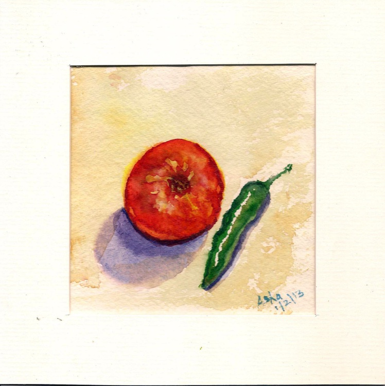 "Still life with tomato and green chili 5.5""x 5.5"" - Image 0"
