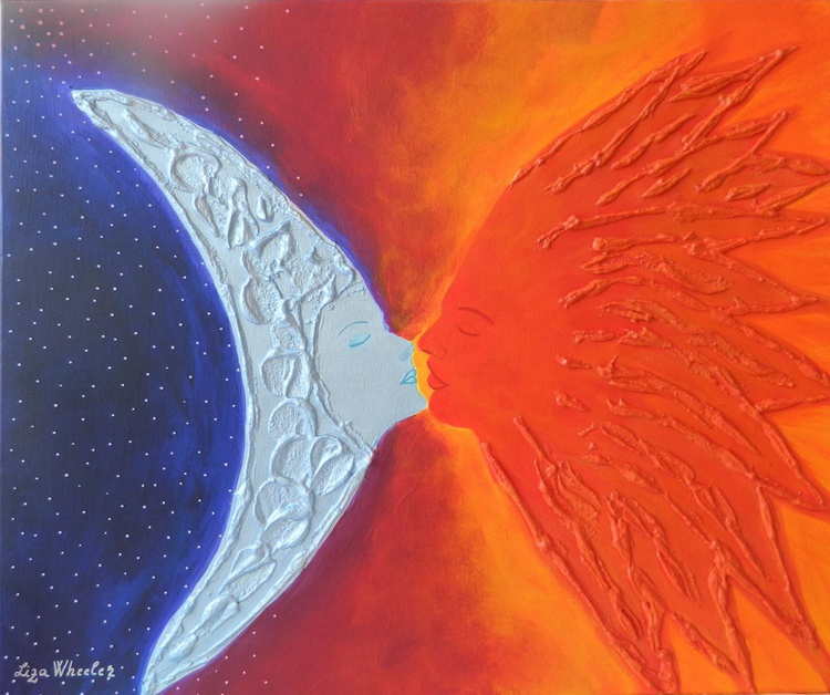 Impossible Romance - Original, unique, contemporary surreal sun and moon painting - Image 0