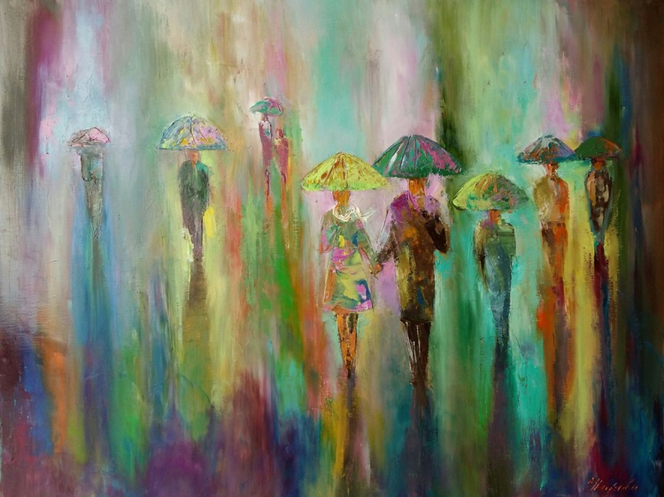 Rainbow mood, 75x50 cm, original artwork, FREE SHIPPING - Image 0