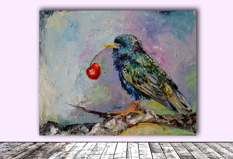 Happy Starling, Cherry and Starling Modern Original Oil Painting, Ready to Hang Knife Palete Painting, FREE SHIPPING - Image 0
