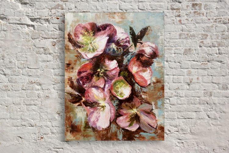 Original artwork Abstract painting, Beautiful flowers, Botanical, floral - Image 0