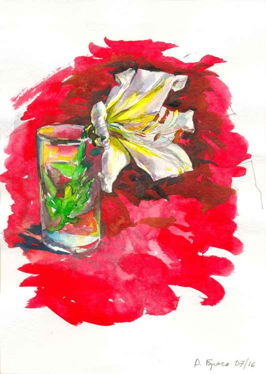 Lily on a red -