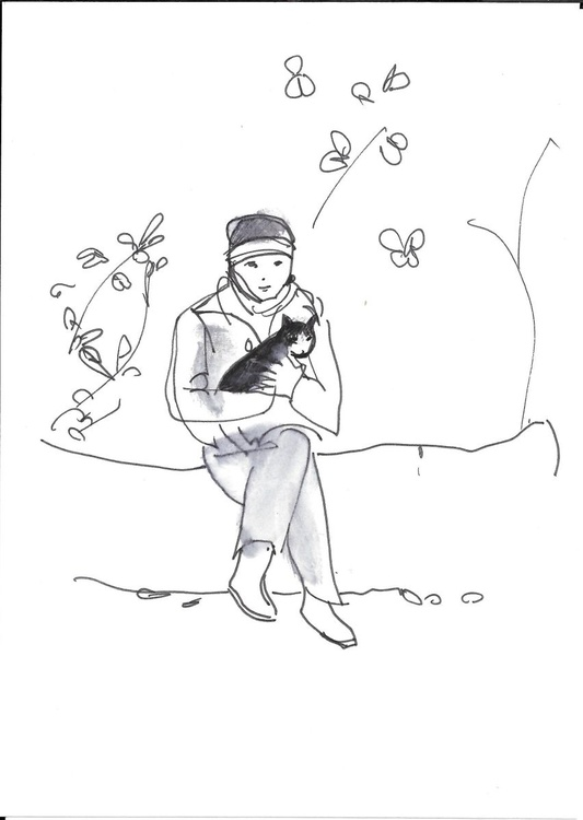 Sketches with a cat in the garden, Paris, Montmartre #4 15x21 cm - Image 0