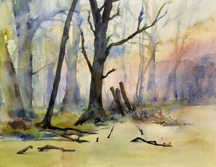 MARSH. EARLY MORNING original watercolour 40x32 cm - Image 0