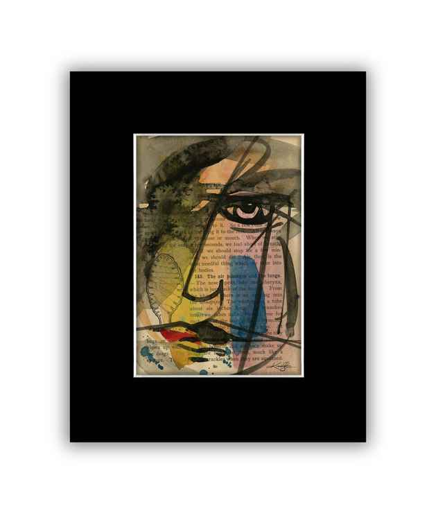 """I See"" on Antique Book Page - Abstract Watercolor Painting -"