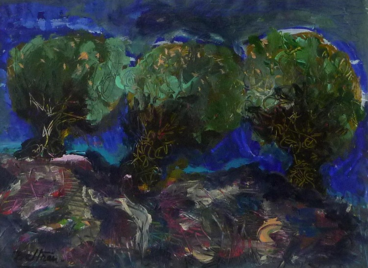 Les oliviers dans la nuit - Image 0