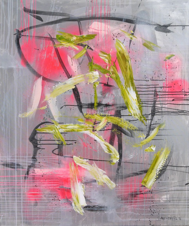 Space Odyssey #1 | large abstract Painting | 120x 100cm | pink green silver black - Image 0