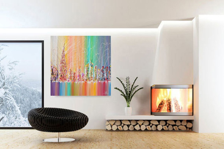 ABSTRACT CITYSCAPE PAINTING, RAINBOW ABSTRACT ART, SKYLINE, SKYSCAPERS, SURREAL ABSTRACTION, MODERN PAINTING, MULTICOLORED, PALETTE KNIFE, RICH TEXTURE, ORIGINAL CONTEMPORARY COLORFUL ART ''THE FUTURE CITY'' - Image 0