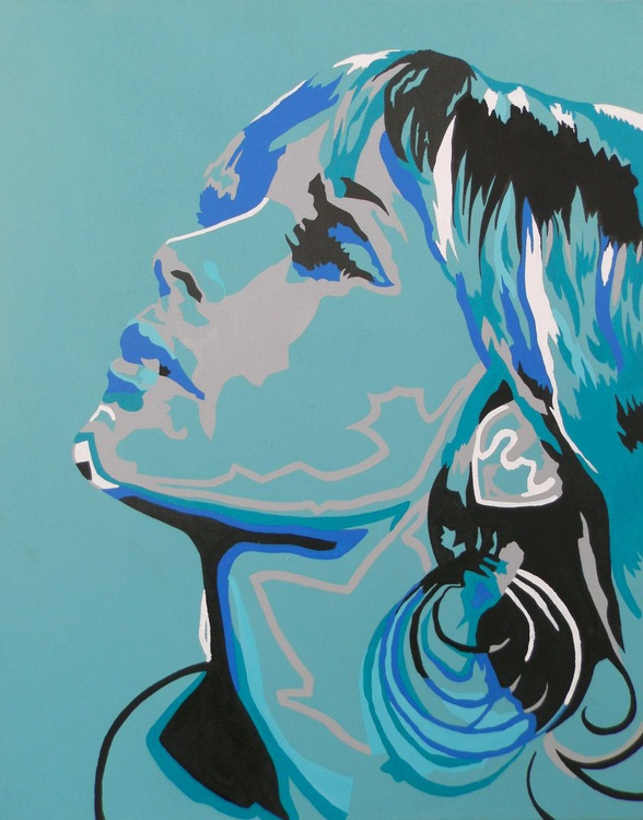 Abstract Female Portrait In Cyan And Blue Modern Abstract Figurative Art - Image 0