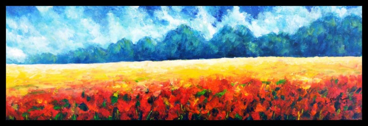 Landscape with Poppies (FRAMED) - Image 0