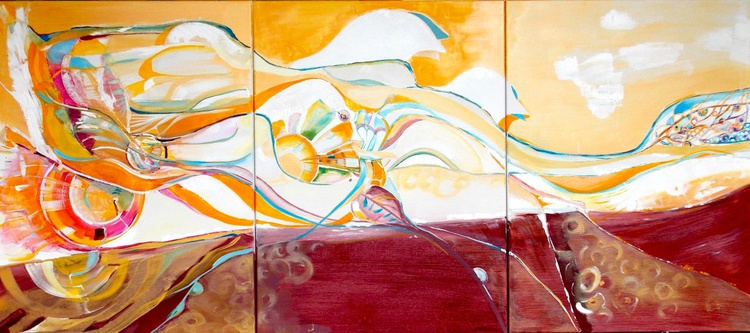Abstract Painting, Large Original Painting on Canvas, 138 x 24, Heaven, marsala, gold, blue, pink orange - Image 0