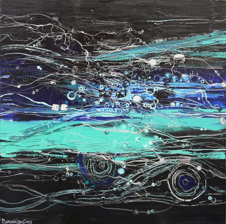 Midnight Breeze - Large Abstract 1m x 1m, ready to hang - Image 0
