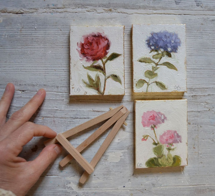 Set of 3 Mini Botanical Flower Oil Paintings - Image 0