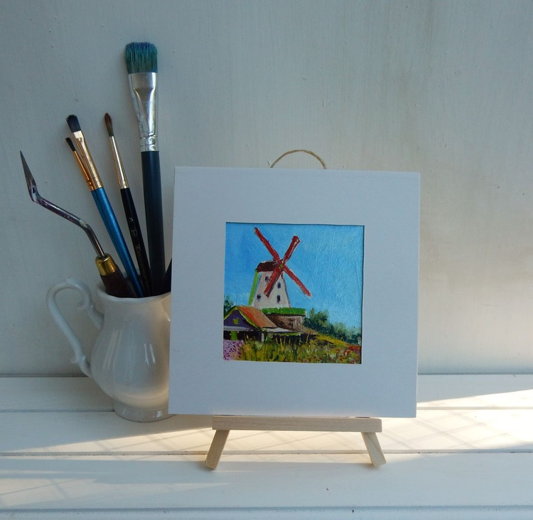 Wind mill (3) in Zaanse Schance. Holland. Landscape Miniature. Easel is included. Gift painting. Ready to hang. - Image 0
