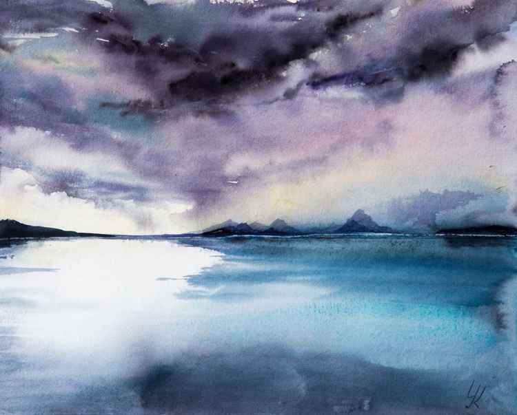 """quiet water"", original watercolour painting, 37x30cm"