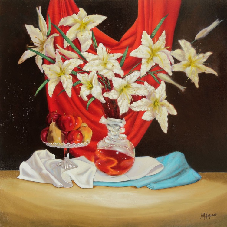 Lillies with fruit & red velvet - Image 0