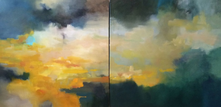 ABSTRACT: Golden Skies. Large Original Oil Painting - Image 0