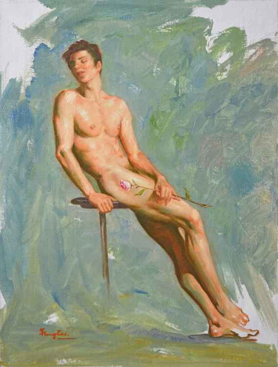 ORIGINAL IMPRESSION OIL PAINTING ART MALE NUDE  MEN AND ROSE ON CANVAS #11-12-02 -