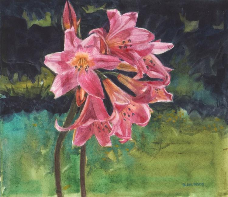 Belladonna Lilies (framed Watercolour) - Image 0