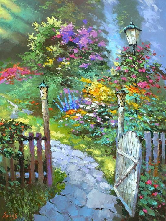 Sunrise in the garden - Original Oil acr. palette knife Painting, Size: 60cmx80cm - Image 0